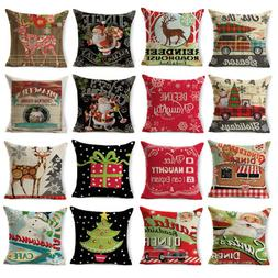Christmas Series Pillow Case Cotton Linen Pillow Cushion Cov