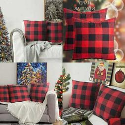 Christmas Throw Pillow Covers RED & BLACK Buffalo Check Plai