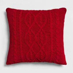 Chunky Chenille Cable Knit Throw Pillow - Red - Square - 28""