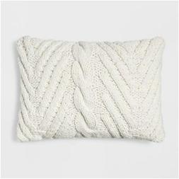 Chunky Knit Lumbar Throw Pillow Cream - Threshold