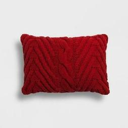 Chunky Knit Lumbar Throw Pillow Red - Threshold
