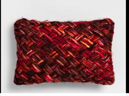 Threshold Chunky Woven Lumbar Throw Pillow Berry Burgundy Re