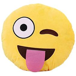 1 X Ciamlir Soft Emoji Smiley Emoticon Yellow Round Cushion