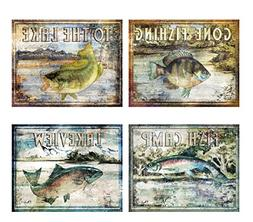 Classic Outdoors Fishing Signs: Lakeview, Fish Camp, Gone Fi