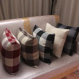Classic Plaid Linen Plain Cushion Covers for Sofa Home Decor