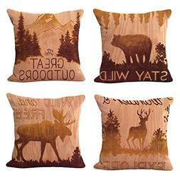 WOMHOPE 4 Pcs Vintage Style Forest Animal Throw Pillow Cover