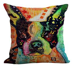 Colorful Dog Stuffed Cushion ChezMax Cotton Linen Throw Pill