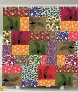 Colorful Shower Curtain Nature Decor by Ambesonne, Patchwork