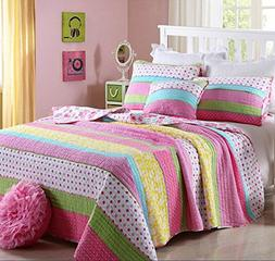 Best Comforter Set 2 Pieces Bedding Set Pink Dot Striped Flo