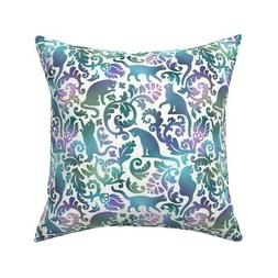 Cool Cat Blue Green Purple Throw Pillow Cover w Optional Ins