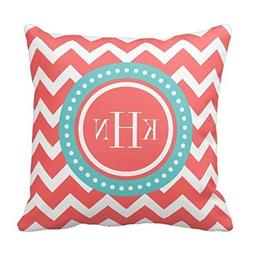 Decors Coral and Turquoise Chevron Monogram Throw Pillow Cas
