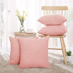 Deconovo Corduroy Pink Throw Covers Throw Pillow Cases with
