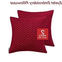 Cotton Breathable Eyelet Embroidery Couch Pillow Covers, Geo