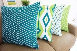 Howarmer Cotton Canvas Teal Decorative Throw Pillow Cover Se