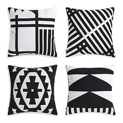 baibu 100% Cotton Embroidery Decor Throw Pillow Case Black a