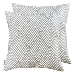 SLOW COW Cotton Embroidery Throw Pillow Covers Grey Diamonds