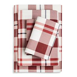 100% Cotton Flannel Sheet Set Red, White & Blue Plaid
