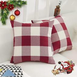 HOME BRILLIANT Cotton Linen Christmas Decorative Throw Pillo