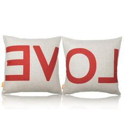 OJIA 24 x 24 InchCotton Linen Decorative Couple Throw Pillow