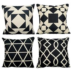 Tosnail 4 Pack Cotton Linen Square Decorative Throw Pillow C