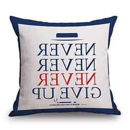 Happy Cool Cotton Linen Square Flag Printed Decorative Throw