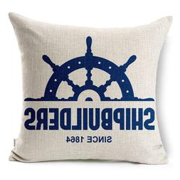 Cotton Linen Throw Pillow Case Cushion Cover with Nautical S
