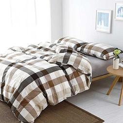 MKXI Cotton Queen Size Bed Duvet Cover Geometric Pattern Cof