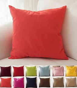 "TangDepot Cotton Solid Throw Pillow Covers, 22"" x 22"" , Cora"