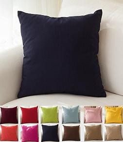 "TangDepot Cotton Solid Throw Pillow Covers, 20"" x 20"" , Dark"