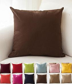 """TangDepot Cotton Solid Throw Pillow Covers, 18"""" x 18"""" , Deep"""