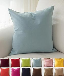 "TangDepot Cotton Solid Throw Pillow Covers, 12"" x 12"" , Ligh"