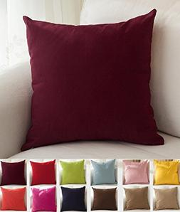 """TangDepot Cotton Solid Throw Pillow Covers, 20"""" x 20"""" , Wine"""