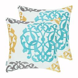 CaliTime Pack of 2 Cotton Throw Pillow Cases Covers for Bed