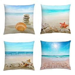 Wonder4 Decorative Throw Pillow Covers Set of 4 Cotton Linen