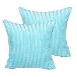 sykting Square Pillow Covers Super Soft Striped Textured Vel