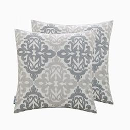 HWY 50 Linen Grey Embroidered Decorative Throw Pillows Cover