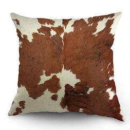 Moslion Cowhide Pillows Decorative Throw Pillow Cover Case F