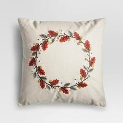 "Threshold Cream Wreath Throw Pillow, 18"" x 18"