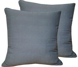 Set of 2 Grey Cushion Cases 18 x 18 Inches Made Of 100% Cott