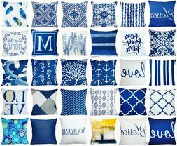 Cushion COVER Navy Blue Decorative Indigo White Premium Thro