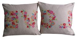 Set of 2 Cushion Cover ChezMax Pattern Printed Linen Flax Th