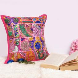 Cushion Cover Throw Indian Pillow Case Ethnic Work Home Boho