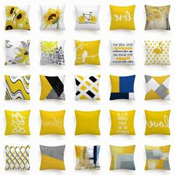 cushion cover yellow white gray home decor