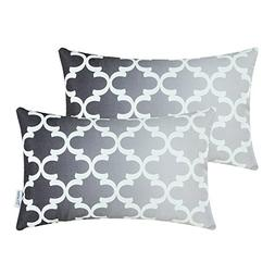 Pack of 2 CaliTime Canvas Bolster Pillow Covers Cases for Co