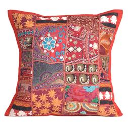 Cushion Embroidered Cotton Handmade Cover Pillow Indian Kant