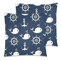 InterestPrint Custom 2 Pack Nautical Pattern with Whale Anch