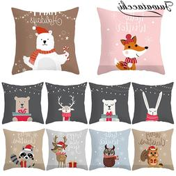 cute animal pattern cushion cover cartoon christmas