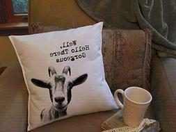 Teresa cute funny goat head Throw Pillow Covers 18 x 18 Inch