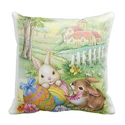 Cute Vintage Easter Bunnies With Eggs And Church Home Throw