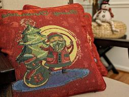DaDa Bedding Festive Christmas Red Santa Clause Throw Pillow